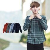 襯衫 韓國製口袋皮標格紋長袖襯衫【NB0398J】