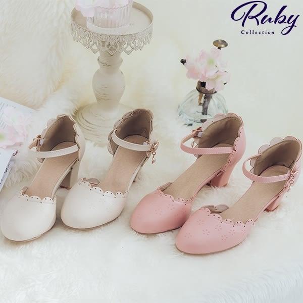 鞋子 鏤空花邊珍珠繫踝粗跟鞋-Ruby s 露比午茶