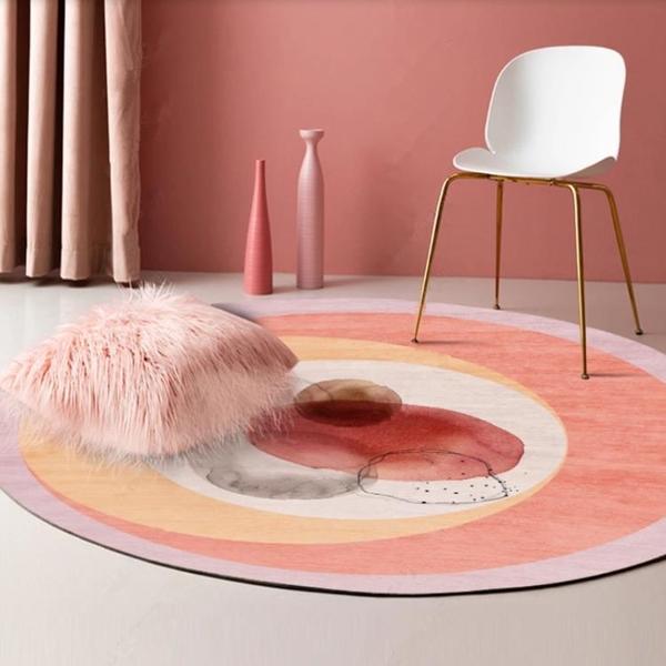 圓形地毯床邊簡約家用臥室客廳地墊墊【極簡生活】