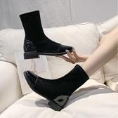 秋冬季新款及踝靴歐美方頭彈力網紅瘦瘦靴絨面中跟二棉短靴女 星河光年