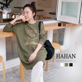 【HC5296】燙金貓頭鷹印圖 線圈棉洋裝