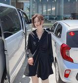 VK精品服飾 韓系復古襯衫裙不規則襯衫黑色短版長袖洋裝