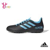 adidas PREDATOR TAN 19.4 TURF SHOES 足球鞋 大童 高中 大學 社團 學生 運動鞋 R9360#黑藍◆OSOME奧森鞋業