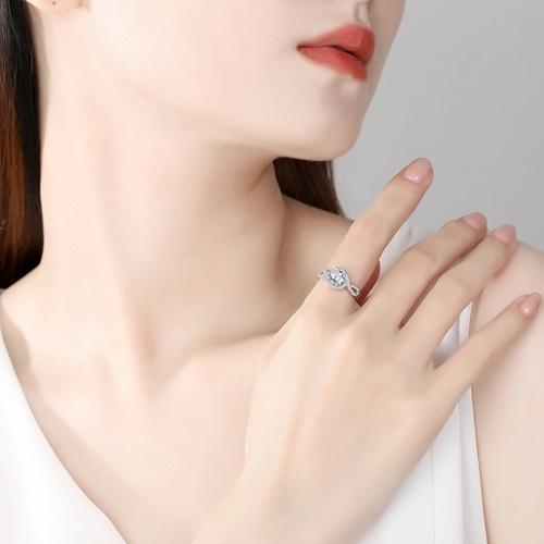 莫桑石戒指-1克拉8心8箭微鑲扭臂925純銀女飾品73yk63{附GRA證書}[時尚巴黎]