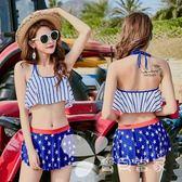 女士分體兩件套露腰舒適平角裙式印花溫泉度假游泳衣批發