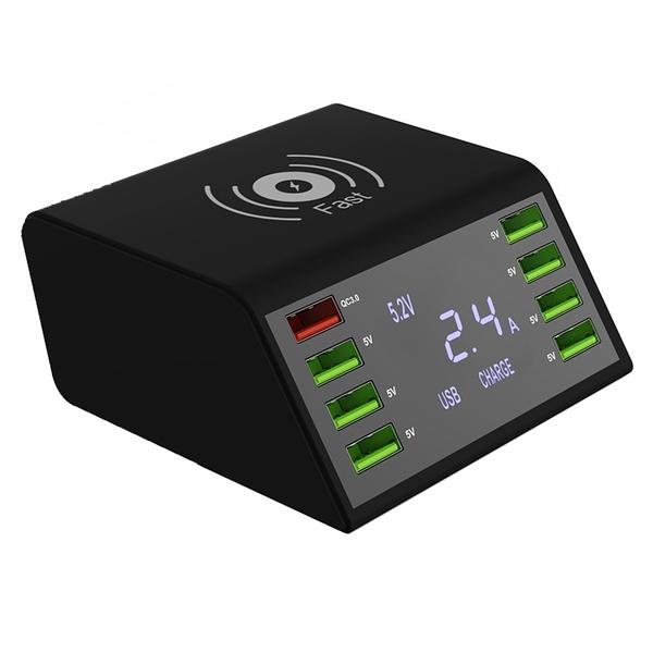 【免運+3期零利率】全新 Qi-838W八孔無線快充電壓顯示充電器 60W大功率 QC3.0快充 AC100~240V