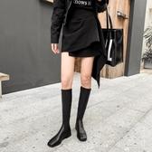 長靴女新款靴子不過膝長筒靴皮靴中筒騎士靴平底鞋高筒靴冬季 檸檬衣舎