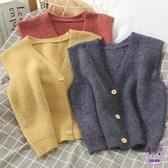 針織上衣 10452港味針織毛衣馬甲女休閒百搭糖果色減齡V領外穿無袖背心外套