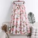 洋裝 沙灘裙春季新款仙女中長款雪紡印花蝴蝶結波西米亞沙灘半身裙女裙子W96 店慶降價