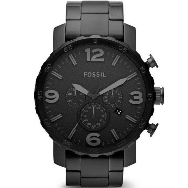 【台南 時代鐘錶 FOSSIL】JR1401 剛毅性格 大錶徑三眼計時腕錶 黑/黑鋼 50mm 公司貨
