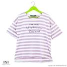 【INI】活力穿搭、休閒品味色調條紋上衣.芋紫色