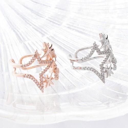 戒指.時尚優雅大小星水鑽鏤空戒指.白鳥麗子