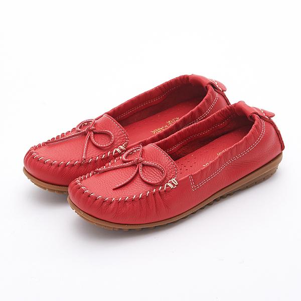 MICHELLE PARK 輕時尚舒適蝴蝶結彈力牛皮休閒平底鞋-紅