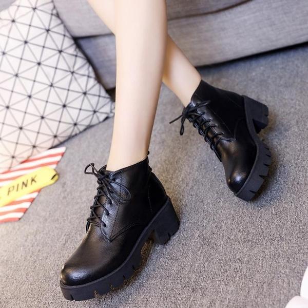 馬丁靴 靴子女短靴2020夏季厚底中跟馬丁靴繫帶英倫風女士粗跟學生女鞋潮【快速出貨】