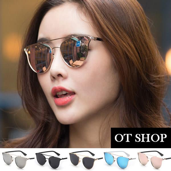 OT SHOP太陽眼鏡‧中性情侶款帥氣個性雷朋防紫外線墨鏡‧金屬框鼻墊加高造型‧現貨‧兩色‧P15