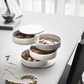 全館83折 北歐旋轉創意簡約女生桌面首飾盒 小配飾手鏈頭繩整理多層收納盒