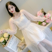 網紗孕婦連衣裙兩件套春裝2020新款高腰修身孕婦裙春季透紗仙女裙