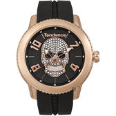 Tendence 天勢 水晶骷髏手錶-玫瑰金框x黑/45mm TY013504