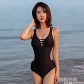 溫泉泳衣女性感小胸聚攏韓國網紅連身比基尼遮肚顯瘦露背泳裝