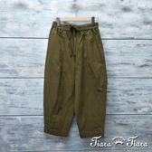 【Tiara Tiara】網路獨家 鬆緊腰腰綁帶純棉休閒長褲(軍綠/黑)
