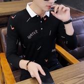 polo衫 2019新款男士長袖t恤春秋季潮流韓版襯衫領上衣服男裝帶領polo衫