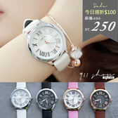 Leisure.香港FEIFAN。簡約立體羅馬數字雙圈凹面網紋皮革錶帶手錶【ta525】*911 SHOP*