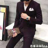 2017韓版紫色雙排扣休閒西服外套男時尚修身雙排小西裝