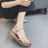 珍珠坡跟涼鞋 女平底沙灘羅馬鞋【多多鞋包店】z2432