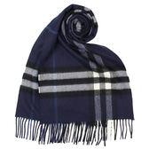 BURBERRY經典格紋喀什米爾羊毛圍巾(靛藍色)089510-18