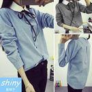 【V0232】shiny藍格子-學院風.甜美蝴蝶結娃娃領長袖襯衫