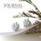 925純銀 滿鑽土耳其藍心葉 針式耳環 ...