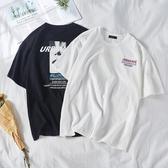 短袖 街頭風嘻哈街舞后背印花潮牌棉質白色寬鬆短袖t恤男潮流半袖