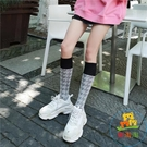 及膝襪小腿襪襪子女街頭菱形千鳥格薄款高筒長襪 樂淘淘