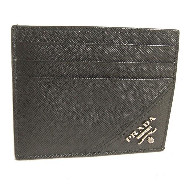 【奢華時尚-經濟部金網獎得獎網站PRADA 黑色斜紋牛皮銀色浮雕Logo雙面六卡卡片夾    (全新)#19083