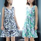 沙灘裙無袖碎花棉綢連衣裙中長款沙灘裙夏季綿綢顯瘦外穿波西米亞民族風 夢藝家