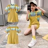 女童夏裝套裝2021夏季新款洋氣中大童裝兒童短袖背帶褲兩件套 快速出貨