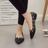 尖頭淺口串珠水鑽裝飾平底鞋 低幫小皮鞋【多多鞋包店】z8323