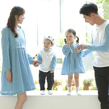 韓版圓領藍白拼接色長袖上衣親子裝(男大人)