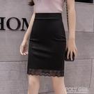 窄裙 高腰半身裙女春夏季修身包臀裙蕾絲短裙一步黑色緊身OL職業小個子 夏季新品