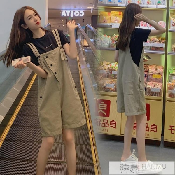 網紅背帶短褲女韓版寬鬆夏季薄款2021新款時尚洋氣減齡牛仔五分褲 母親節特惠