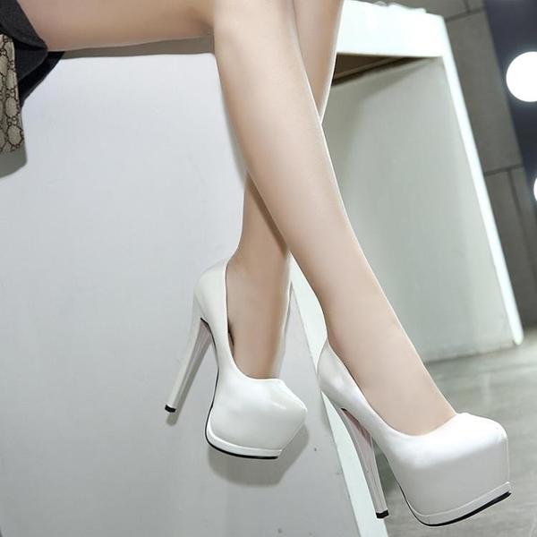 促銷全場九折 14cm15公分女鞋春秋超高跟鞋漆皮性感夜店白色圓頭細跟單鞋女韓版