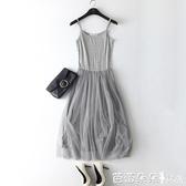長裙  春吊帶網紗打底裙莫代爾寬鬆內搭長裙彈力大碼蕾絲背心洋裝『快速出貨』
