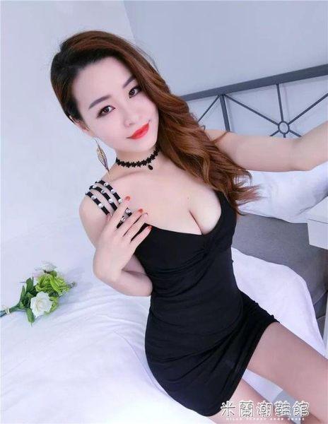 夜店女裝夏裝新款V領低胸性感制服包臀洋裝 米蘭潮鞋館