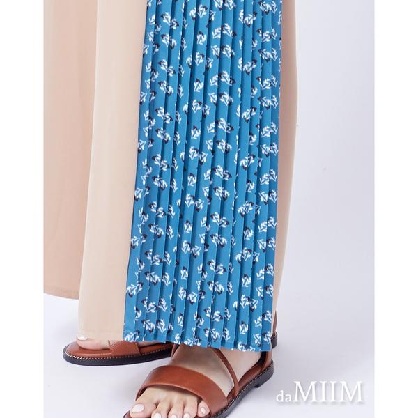 daMIIM質感百摺印花拼寬褲-二色-可可藍底花