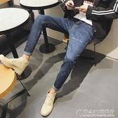 男士刺繡窄管牛仔褲韓版修身百搭學生錐形褲bf風褲子 奇思妙想屋