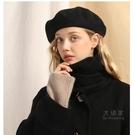 畫家帽 造型帽 羊毛貝雷帽女英倫復古大頭圍黑色畫家秋冬百搭帽子蓓蕾帽