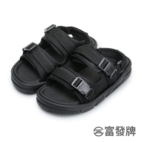 【富發牌】街頭情侶兩穿女款涼拖鞋-黑 1ML109