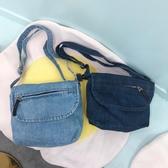 牛仔包百搭女側背牛仔帆布包休閒斜背包牛仔藍小背包復古百搭小包包 新品