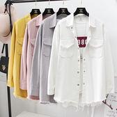 春季韓版寬鬆純色長袖大碼百搭中長款學生毛邊牛仔襯衫外套女薄款