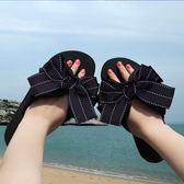 拖鞋女夏時尚蝴蝶結人字拖夾腳涼拖鞋